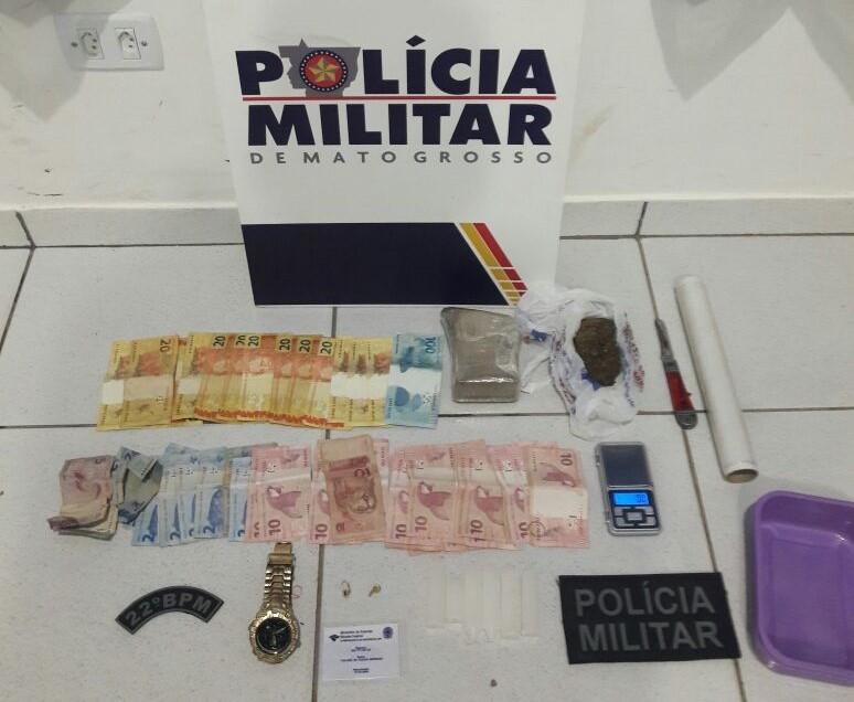 Casal menor de idade é apreendido suspeito de tráfico de drogas em Peixoto  de Azevedo